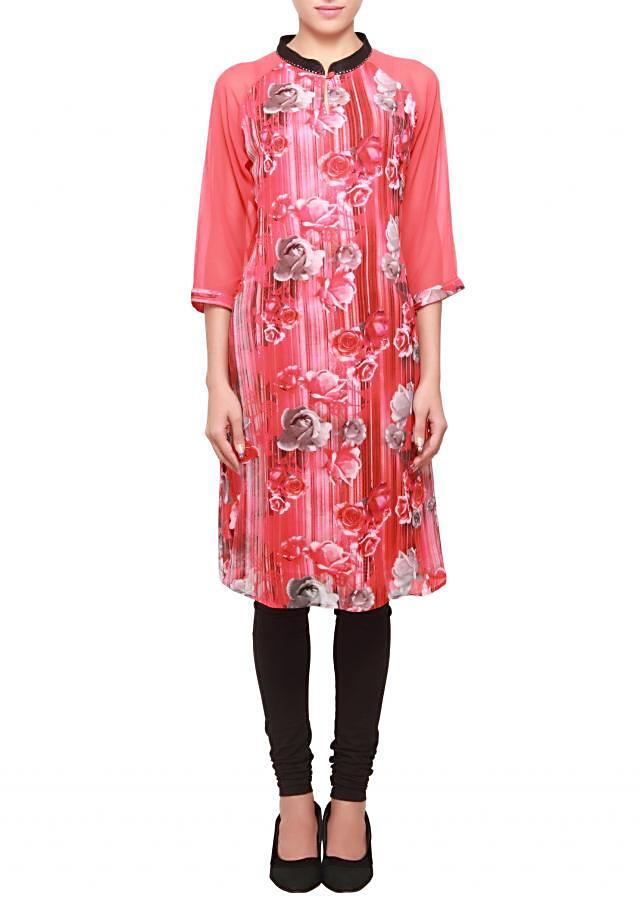 Featuring pink and red printed georgette kurti only on kalki