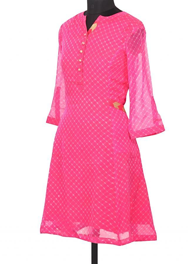 Featuring pink leheriya printed kurti only on Kalki