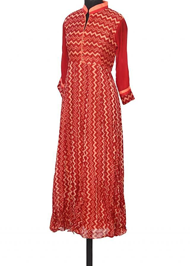 Featuring red and peach printed kurti only on Kalki