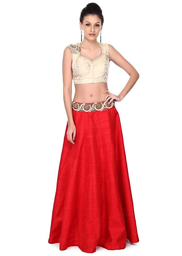 Featuring red skirt with cream crop top only on Kalki