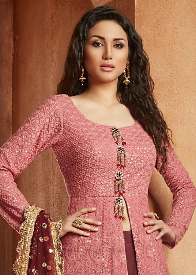 Shaded Anarkali In Thread And Sequin Work Matched With Plum Skirt Online - Kalki Fashion