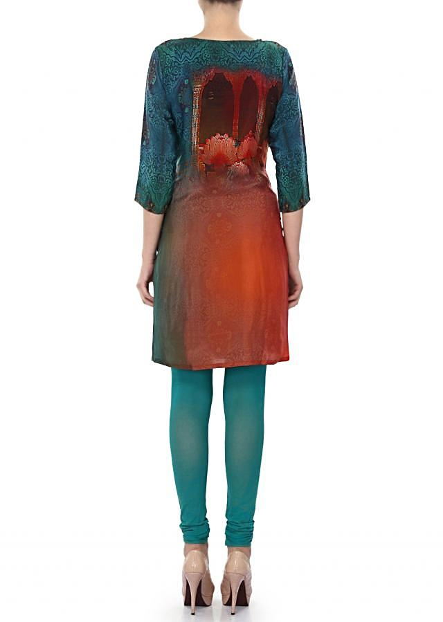 Featuring shaded kurti in teal and rust only on Kalki