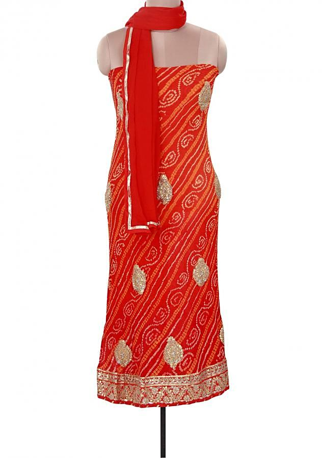 featuring shaded unstitched suit in bandhani only on Kalki
