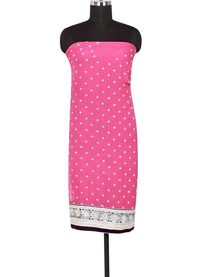 Featuring unstitched suit in fuchsia pink embellished in silver embroidery only on Kalki