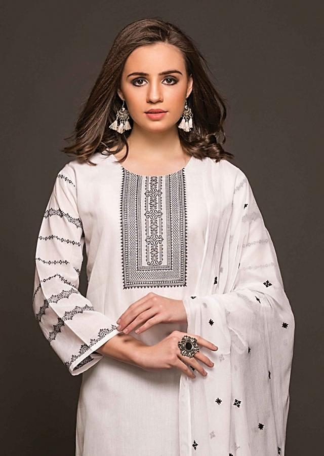 White Unstitched Suit With Weaved Placket And Hem Line And Chiffon Dupatta Online - Kalki Fashion