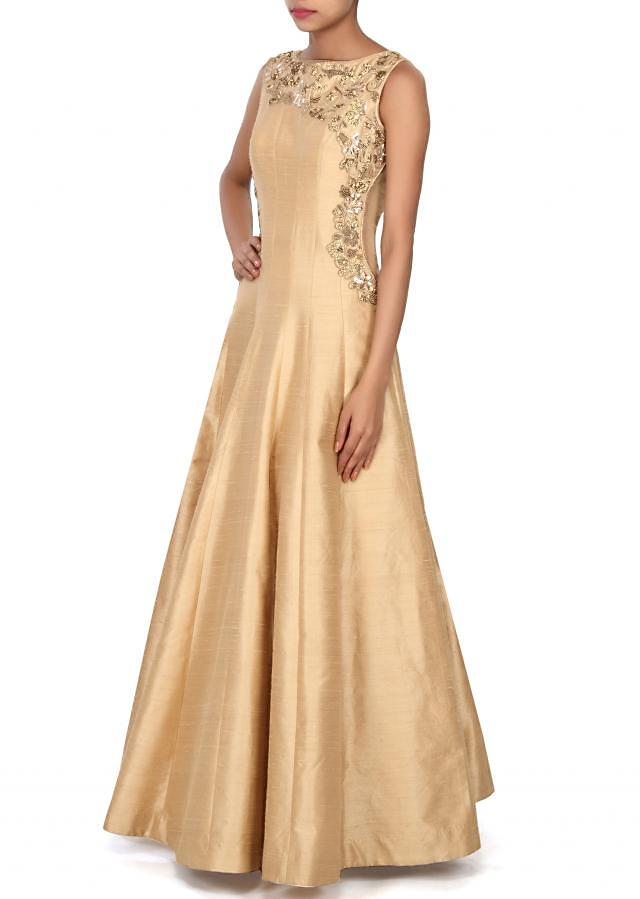 Featuring beige gown with embellished yoke only on Kalki