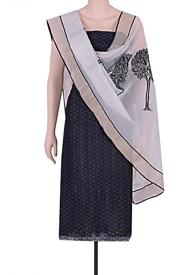 Be the ethnic diva in this elegant black printed chanderi suit. Matched with resham embroidered cotton dupatta in contrast color.
