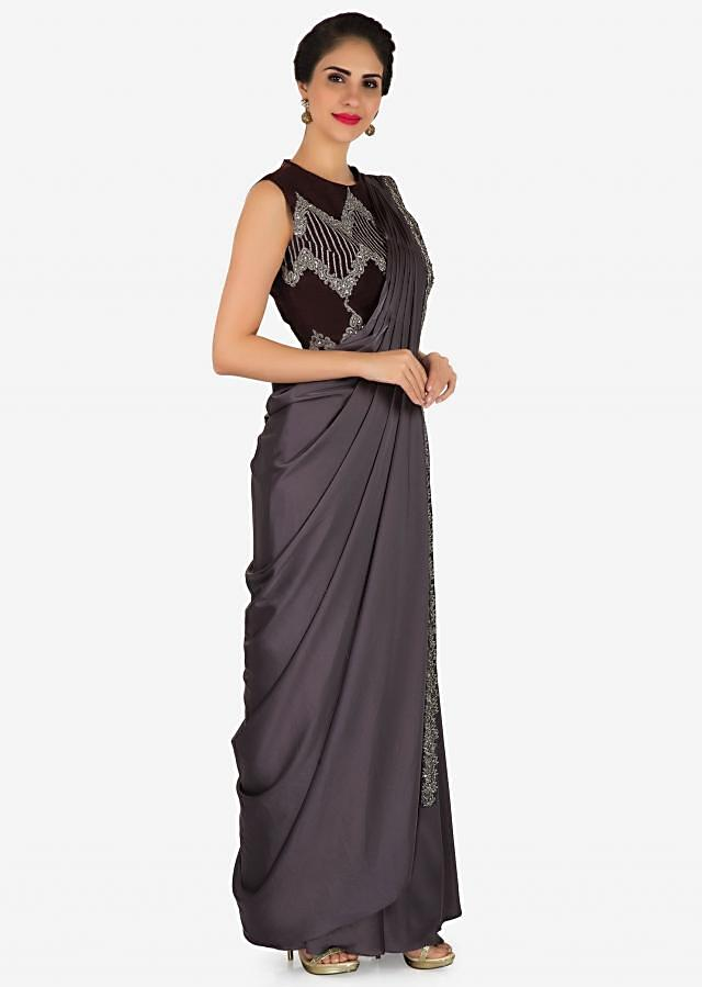 Featuring grey pre stitched saree with burgundy embroidered blouse only on Kalki
