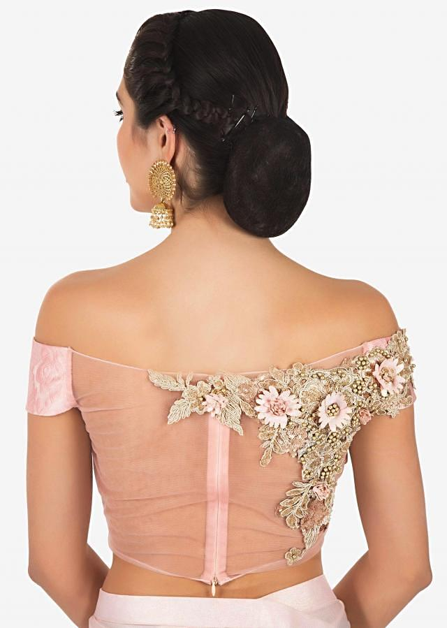 Featuring pink pre stitched saree in baby pink lycra with 3D flower embroidery only on Kalki