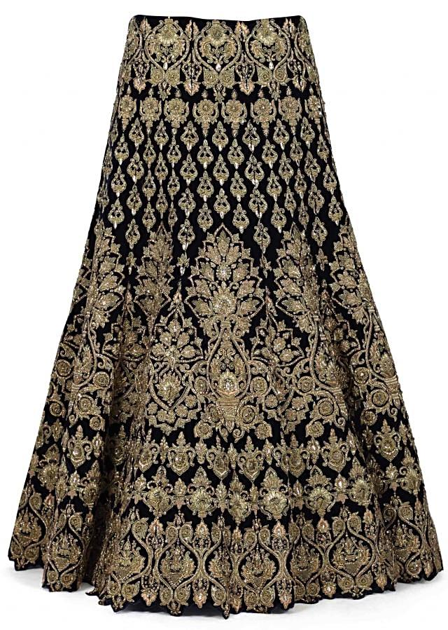 Featuring semi stitched lehenga in navy blue only on Kalki