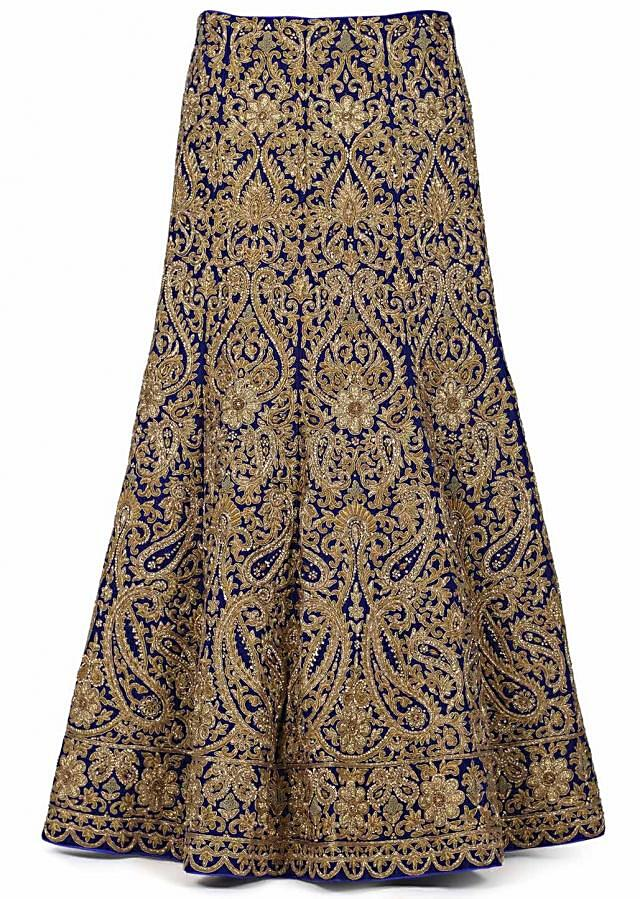 Featuring stitched lehenga in navy blue only on Kalki