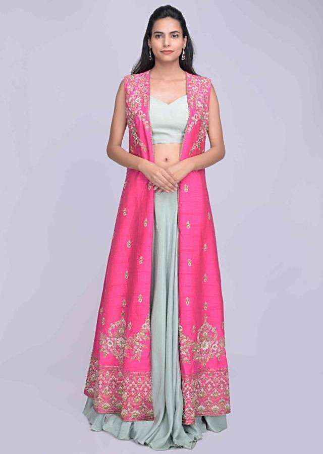 Fern Green Skirt And Crop Top In In Crepe With Fuschia Embroidered Jacket Online - Kalki Fashion