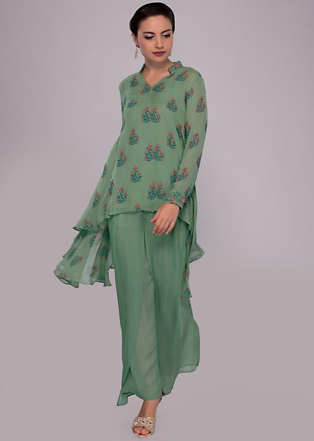 Fern Green High Low Flared Suit With Matching Georgette Palazzo Online - Kalki Fashion