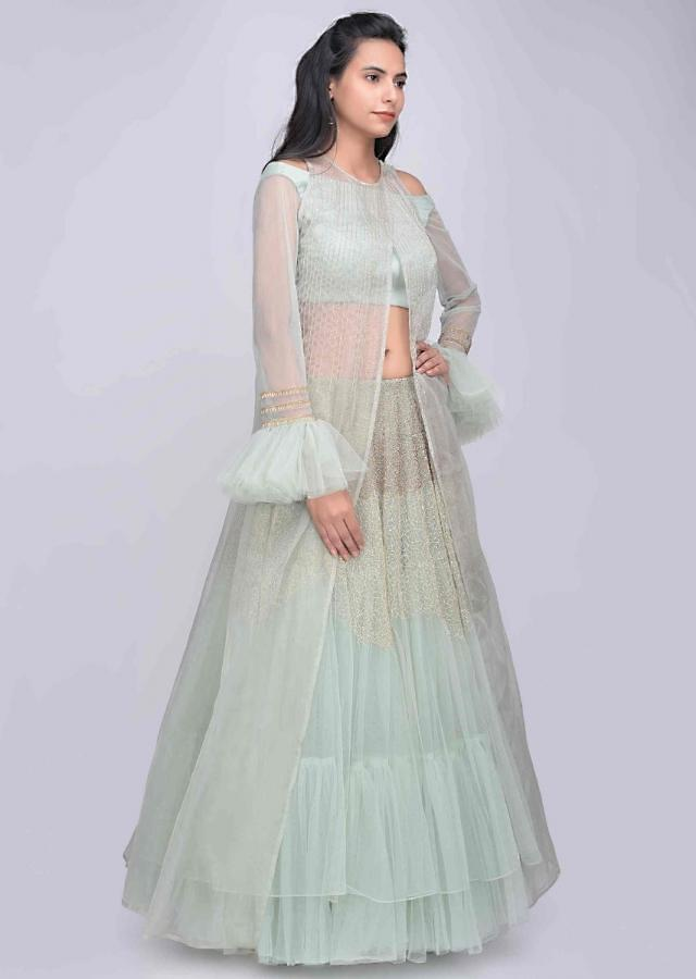 Fern Green Layered Lehenga Set In Net With Embellished Organza Jacket Online - Kalki Fashion