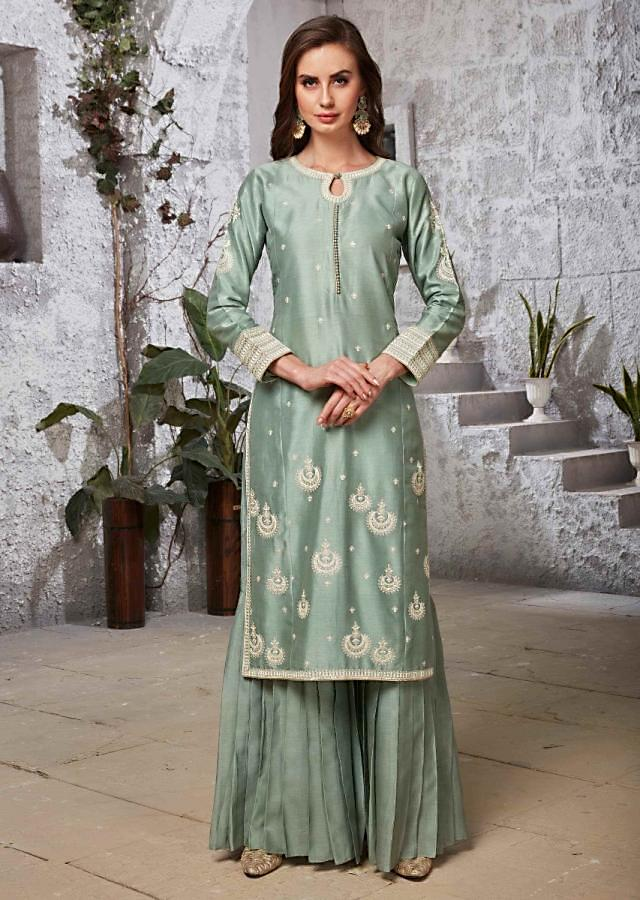 Fern Green Suit In Silk With Pleated Sharara Bottoms Online - Kalki Fashion