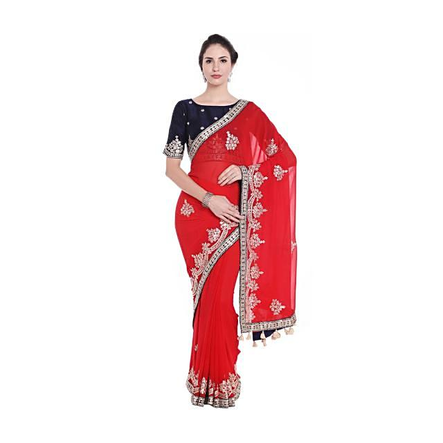 Ferry red embroidered saree with fancy tassel and ready embroidery only on Kalki