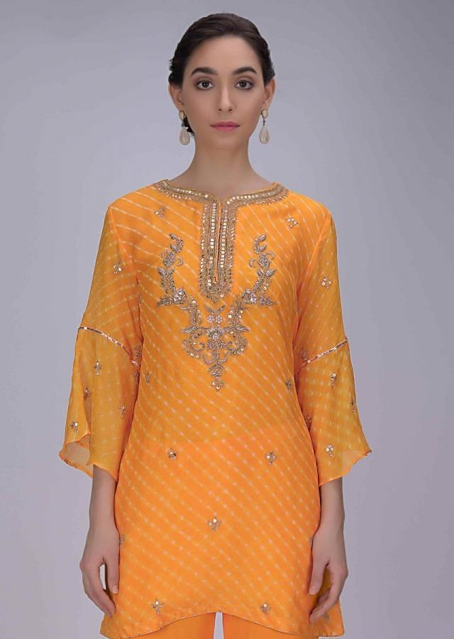 Fire Yellow Suit In Chiffon With Lehariya Print And Embroidery Work With Sharara Bottoms Online - Kalki Fashion