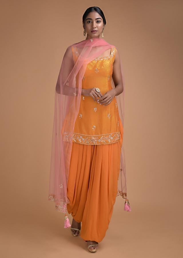 Fire Yellow Salwar Suit With Sequins And Cut Dana Work In Floral Pattern Online - Kalki Fashion
