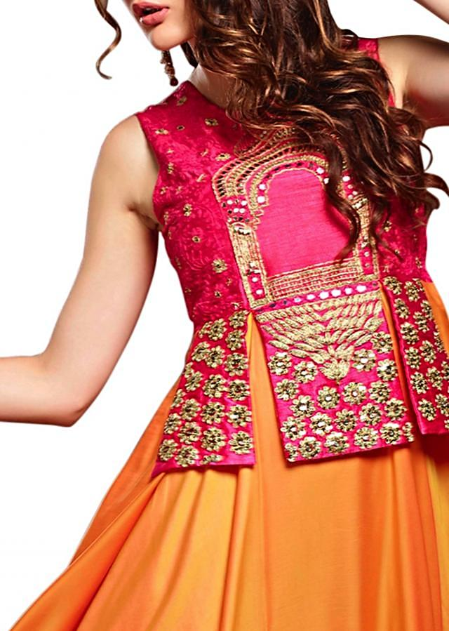 Flame orange anarkali suit with pink embroidered bodice only on Kalki