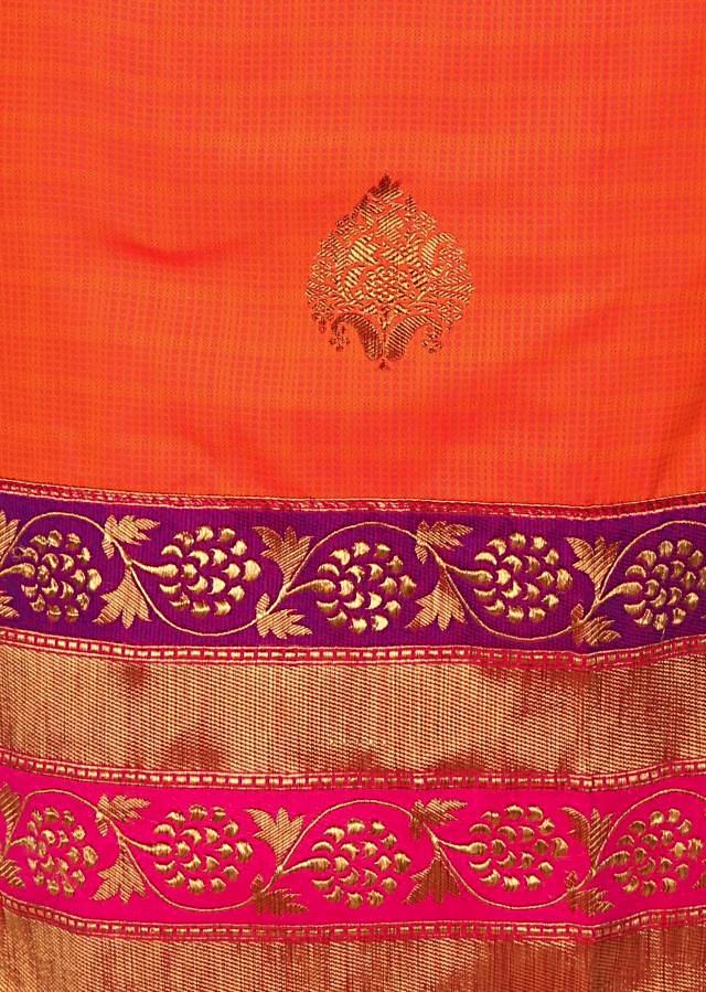 Flame orange unstitched suit with magenta pink dupatta only on Kalki
