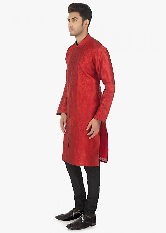 Flame Scarlet silk kurta and black chudidar set only on Kalki