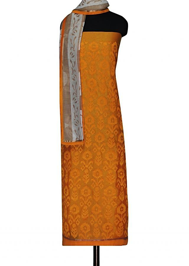 Flame yellow unstitched suit with paisley motif dupatta only on Kalki