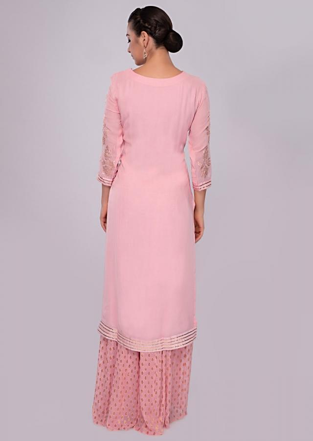Flamingo Pink Palazzo Suit Set In Georgette With Zari Embroidery And Butti Online - Kalki Fashion