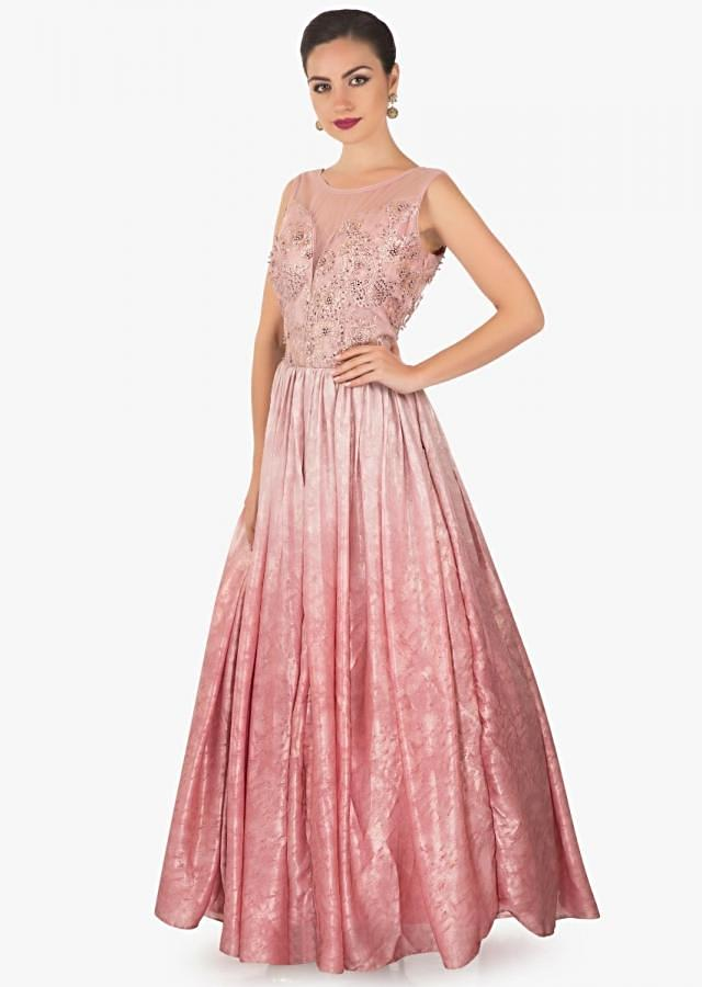 flamingo shaded  net gown featuring  moti and resham  embroidered  only on kalki