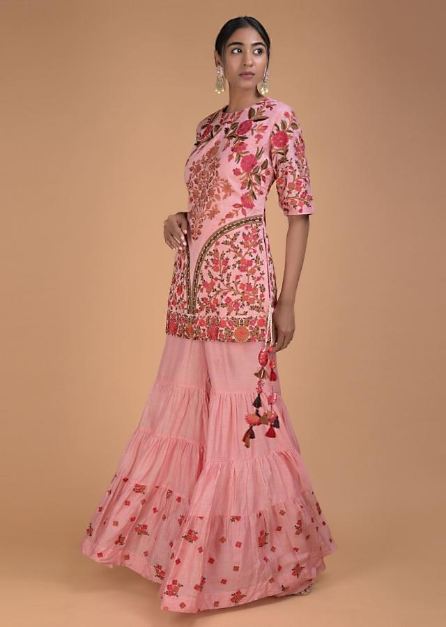 Flamingo Pink Sharara Suit With Thread Embroidery In Floral Pattern Online - Kalki Fashion