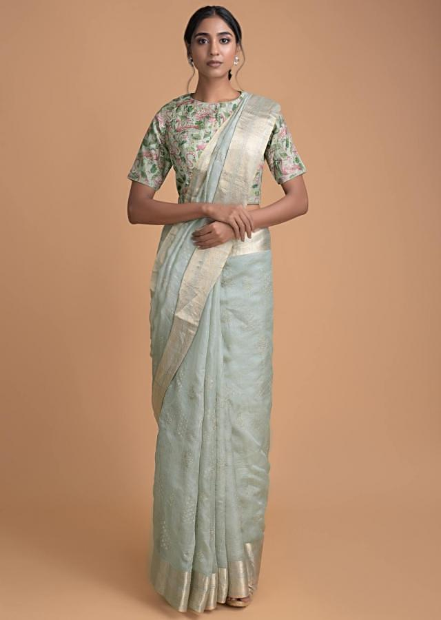 Flem Green Saree In Silk With Zari Work And A Flamingo Printed Blouse Online - Kalki Fashion