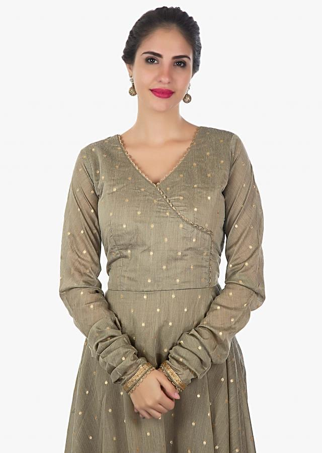 Flexen brown cotton silk anarkali with over lapping neck line only on Kalki