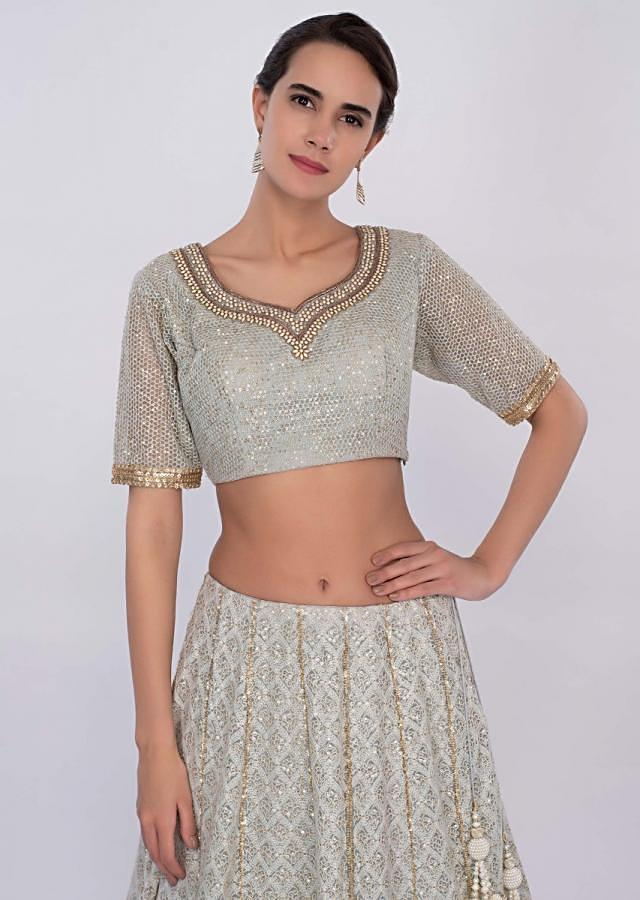 Flint Grey Lehenga Set With Lucknowi Embroidery Online - Kalki Fashion