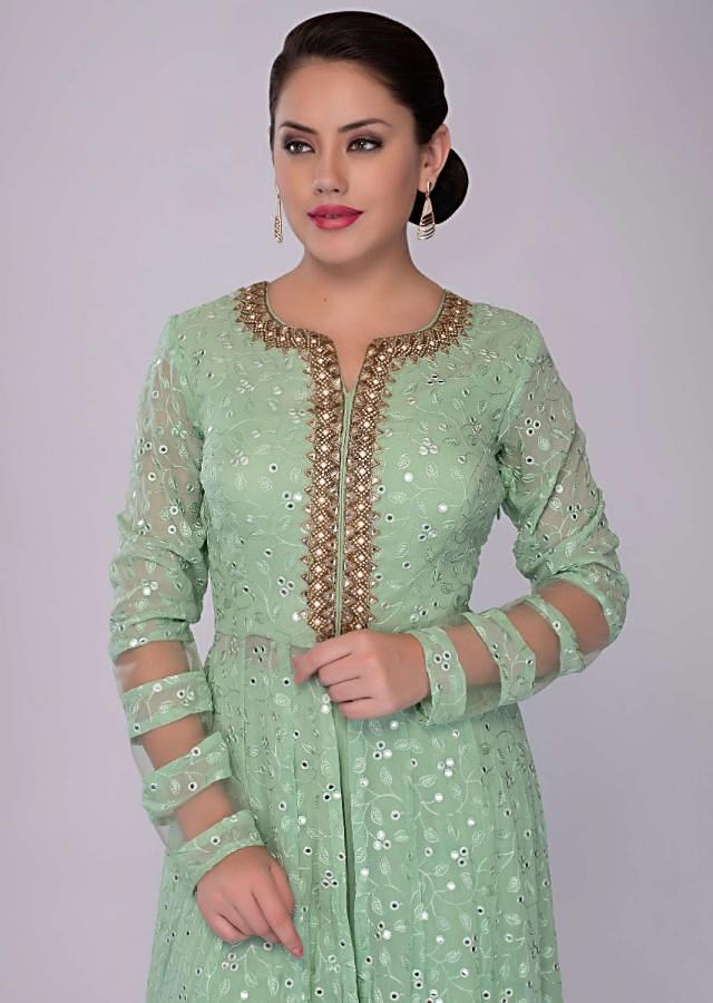 Floral green sharara suit set in self thread embroidered jaal work only on kalki