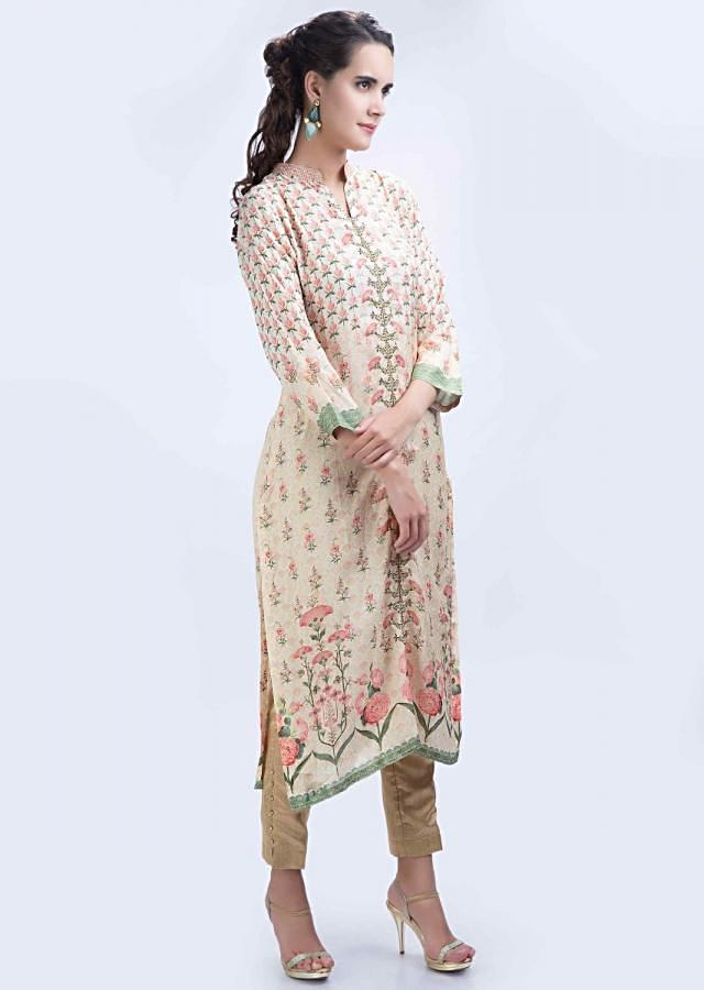 Floral printed cream silk kurti with center embroidered placket only on Kalki