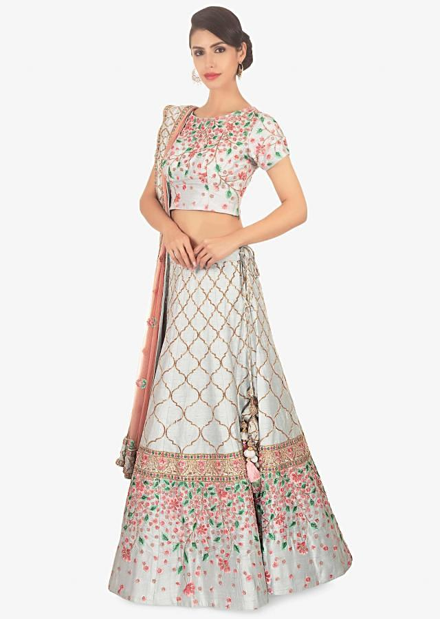 Blue Lehenga Set With Floral Resham Embroidery Paired With Pink Net Dupatta Online - Kalki Fashion