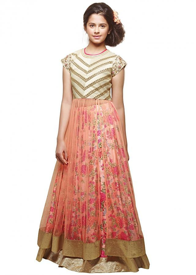 Floral printed lehenga with long peach blouse