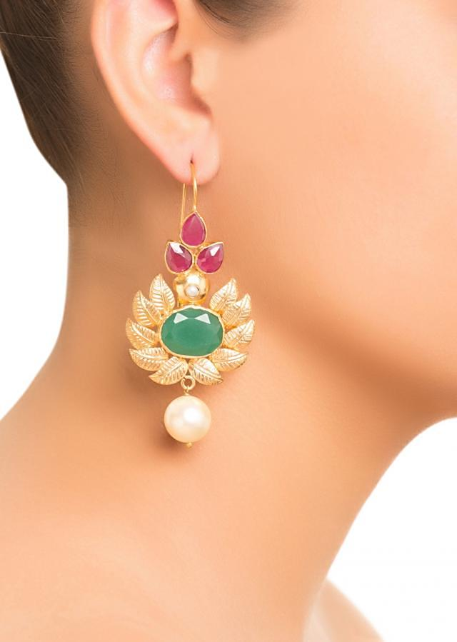 Flower And Leaf Earrings - Red And Green