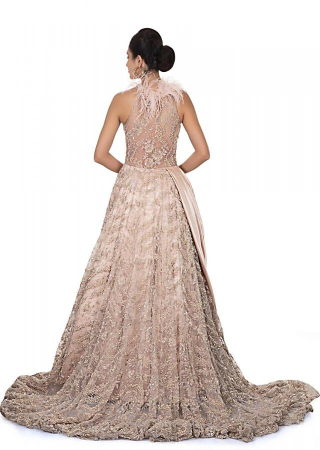 Flushed Pink Gown With Halter Neckline And Long Trail Online - Kalki Fashion
