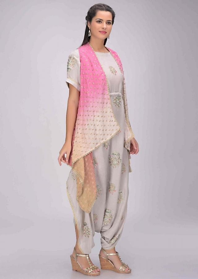 Fog Grey Jumpsuit In Cotton Silk With Shaded Pink Crepe Jacket Online - Kalki Fashion