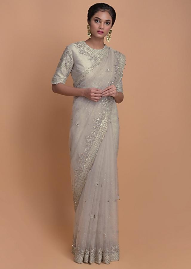 Fog Grey Saree In Organza With Scattered Sequins All Over And Embroidered Buttis Online - Kalki Fashion