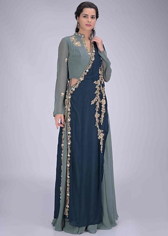 Fogged Landscape Green Suit In Chiffon With Pre Stitched Peacock Blue Dupatta Online - Kalki Fashion