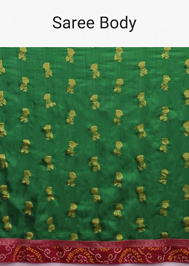 Forest Green Saree In Silk With Weaved Floral Buttis And Bandhani Printed Border Online - Kalki Fashion