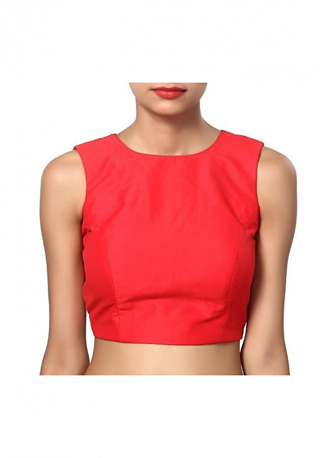 Formal bright red boat neck sleeveless blouse with a criss cross net back