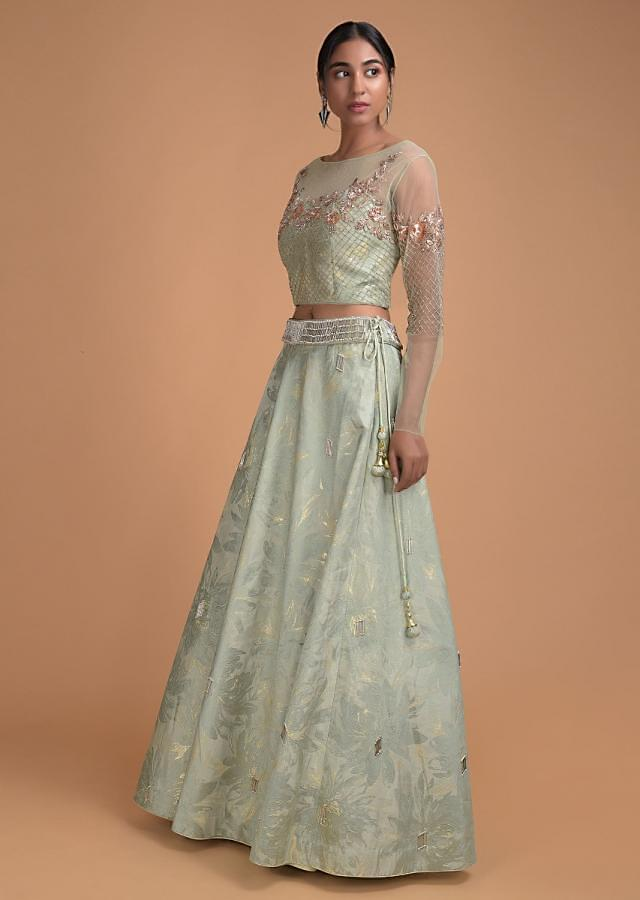 Foss green lehenga in brocade silk with floral and checks motif embroidered blouse Online - Kalki Fashion