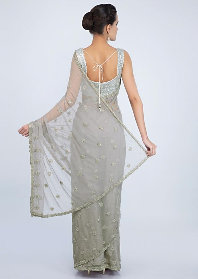 Fossil Grey Net Saree In Scallop Border And Moti Embroidery And Butti Online - Kalki Fashion