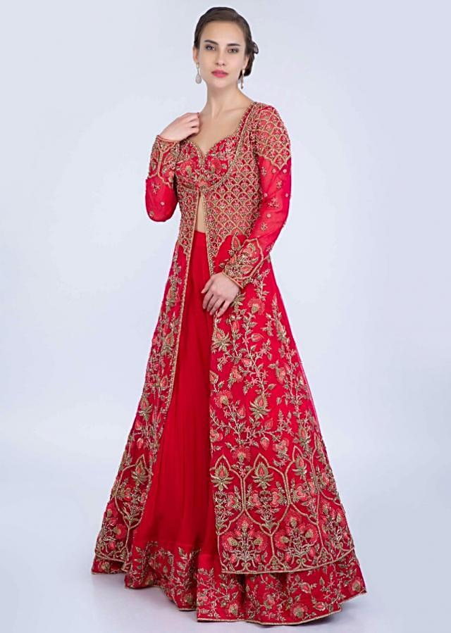 French pink embroidered crop top and palazzo with heavy embroidered long net jacket only on Kalki