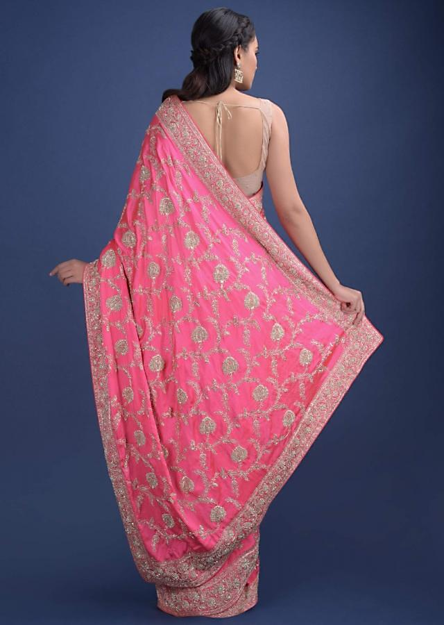 French Rose Pink Saree In Satin Heavily Embellished In Floral Pattern Online - Kalki Fashion