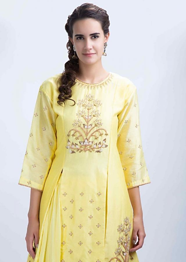 Yellow Top With Front And Side Slit And Embroidery Worik With Matching Silk Skirt Online - Kalki Fashion