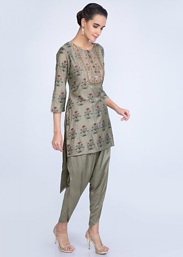 Front short back long olive green printed top with matching dhoti pant only on kalki