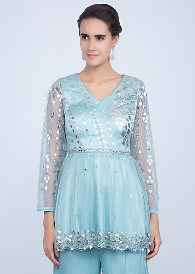 Frost Blue Sharara Suit Set In Net With Cut Dana, Lurex And Mirror Work Online - Kalki Fashion